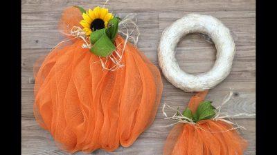 ep499 Straw Wreath Deco Mesh Pumpkin